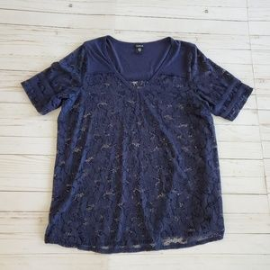 Torrid Navy Blue Lace Football Jersey Top Size 2